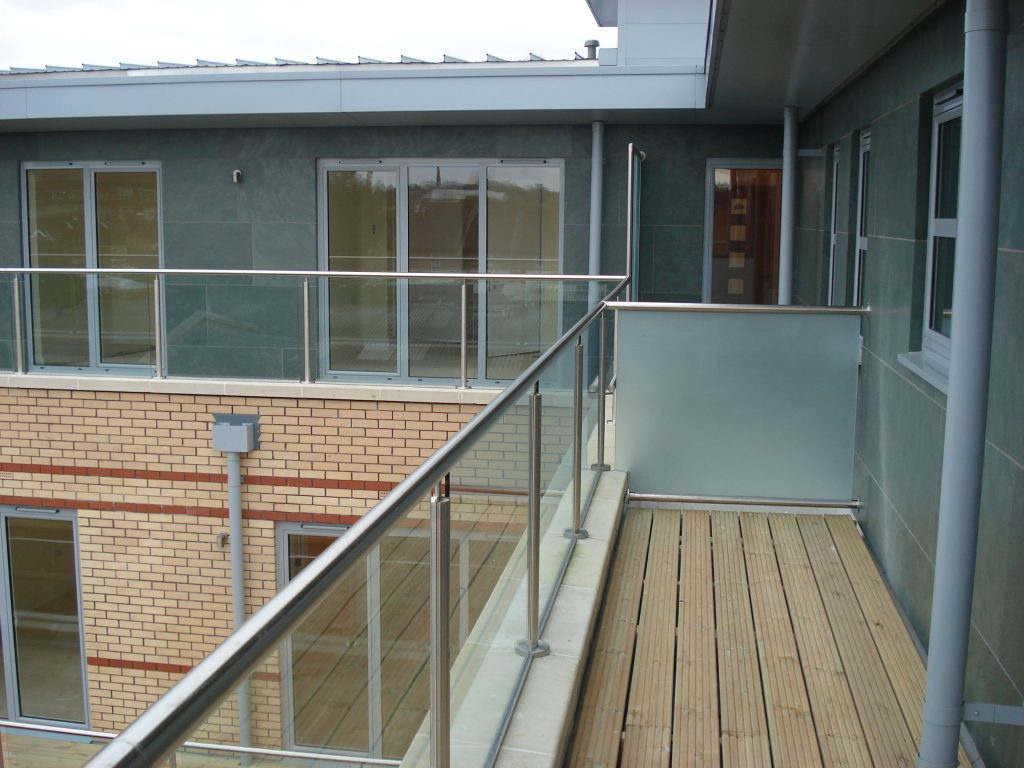 Glass balustrade on apartment balcony