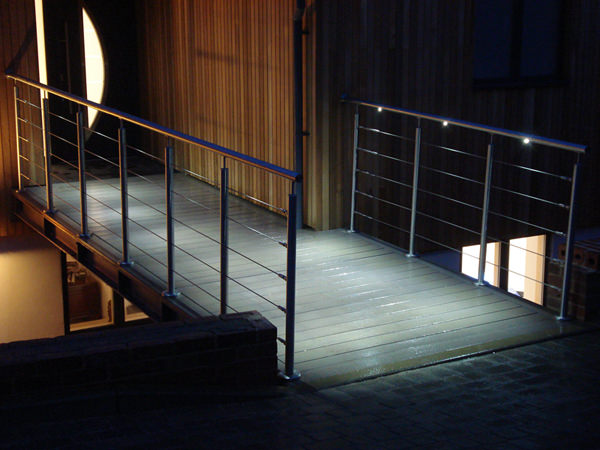 stainless steel handrail lit by LED inserts