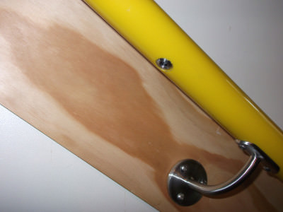 Metal LED insert in yellow handrail