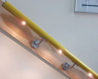 LED lighting in wall mounted handrail