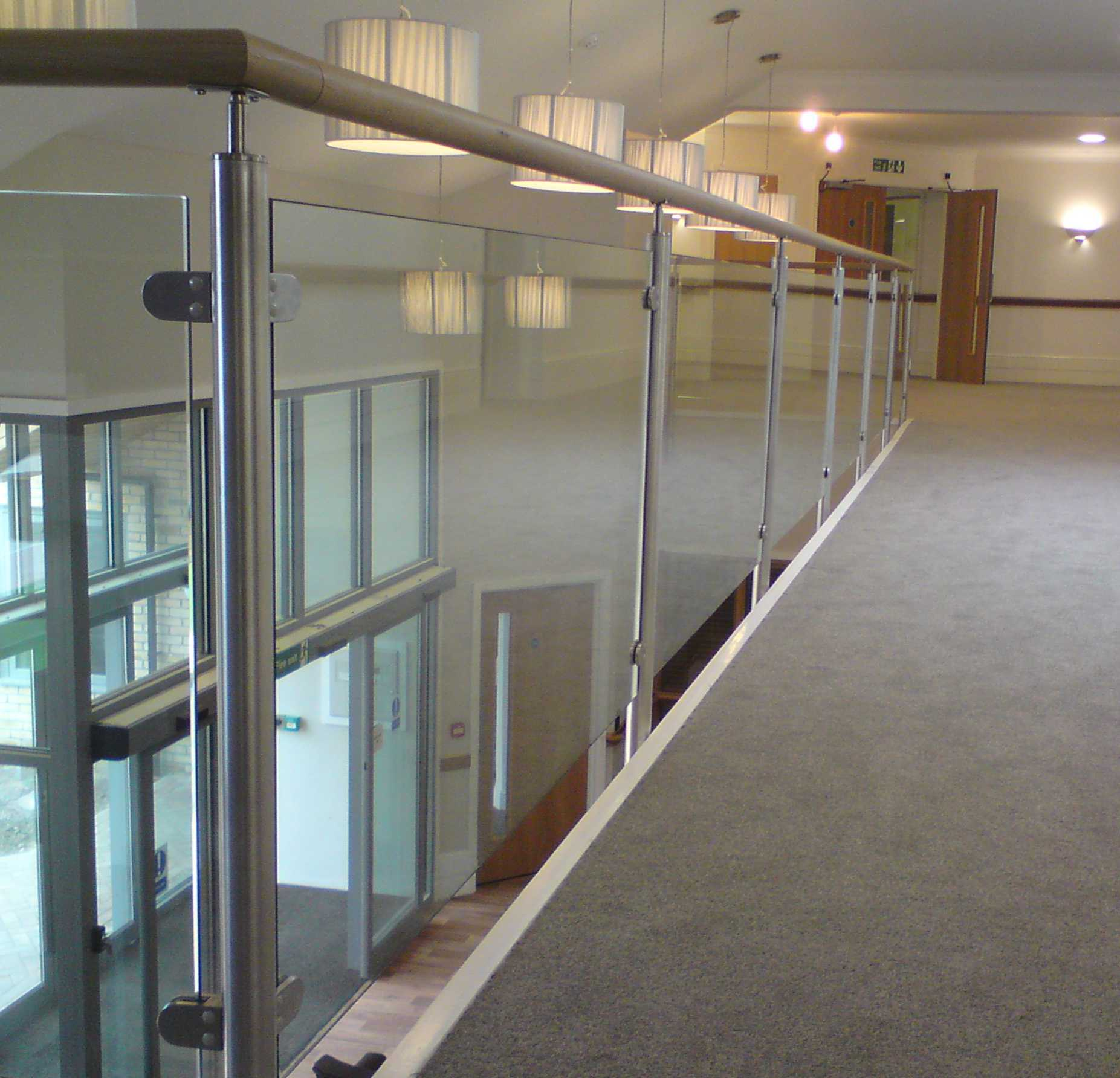 stainless steel handrail with glass balustrade