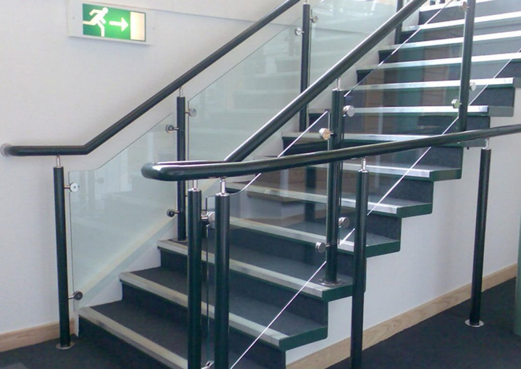 Black School Handrail on staircase