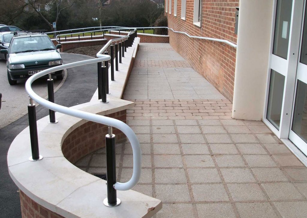 PVC ramp Handrail outside hospital