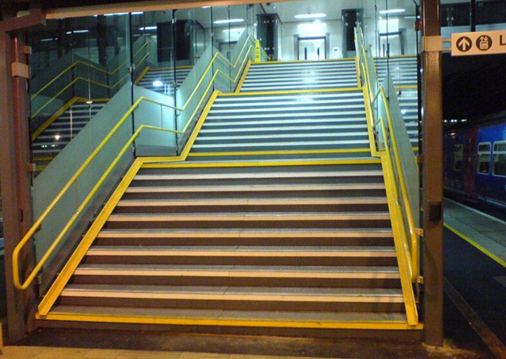 Railway station handrail