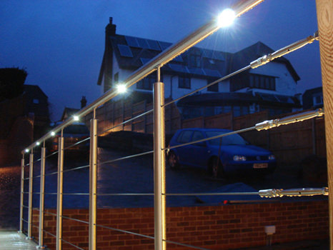 LED lighting in handrail at night