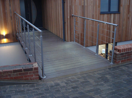 stainless steel handrail over bridge