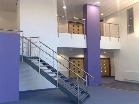 Commercial stainless steel handrail staircase