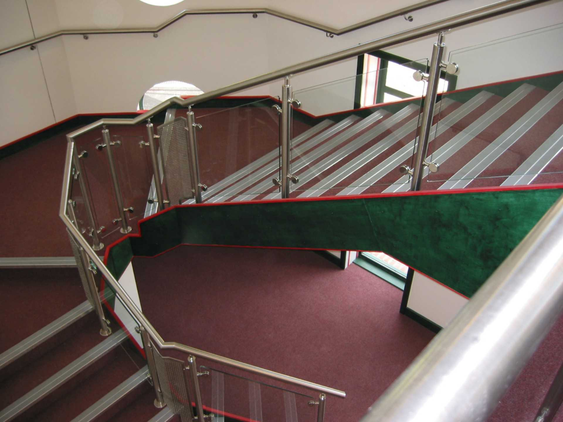 stainless steel handrail with glass infill panels