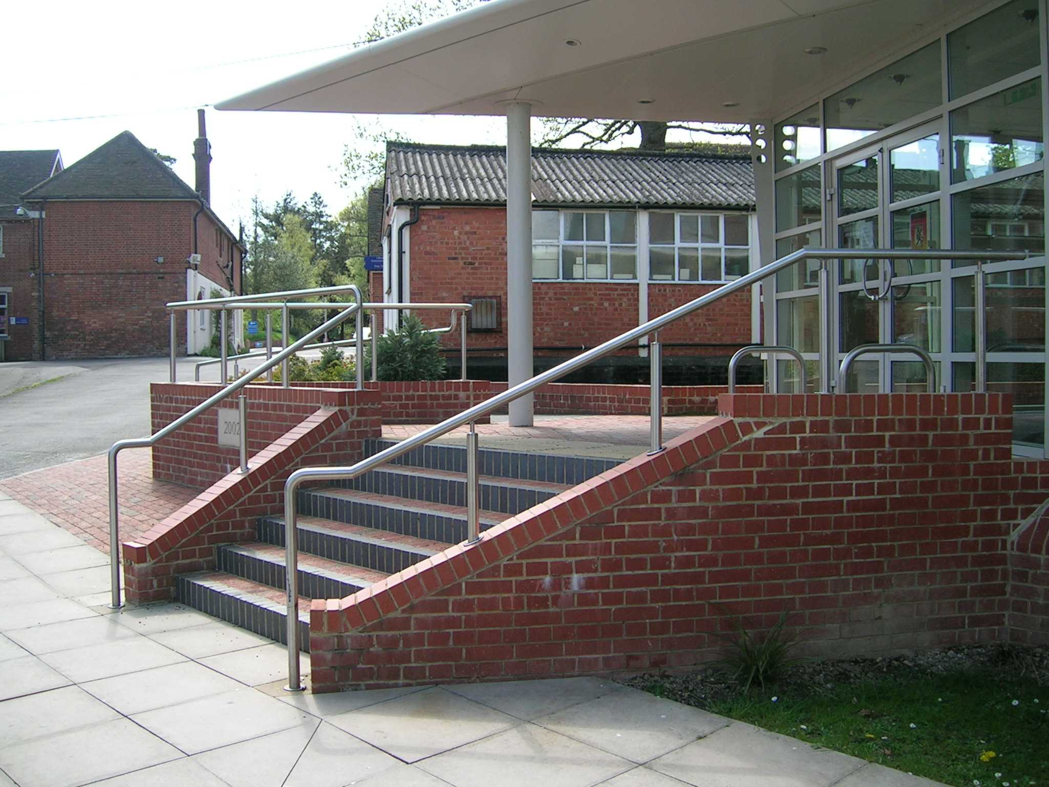 Stainless steel handrail on exterior steps