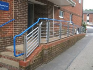Blue warm to touch handrail