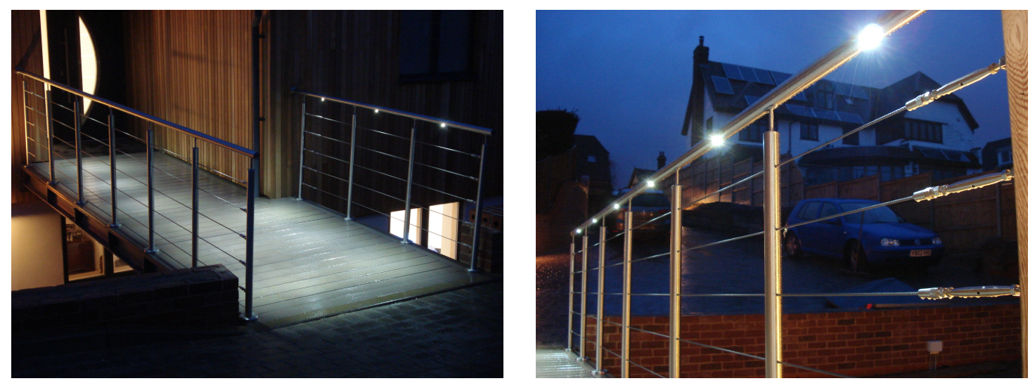 Illuminated handrails at nighttime