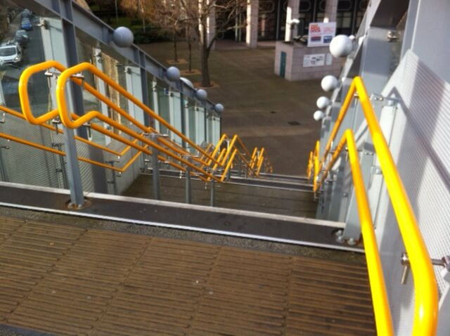 downward view of station stairs