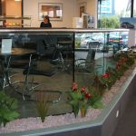 Glass balustrade in cafe