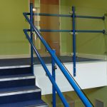 Internal blue handrail in School