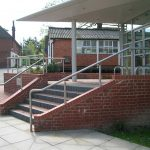External stainless steel handrail