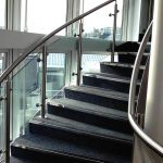 Curved stainless steel handrail