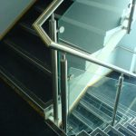 Stainless steel handrail on stairs