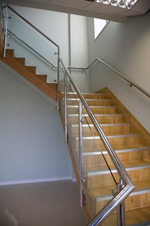Glazed stainless steel handrail