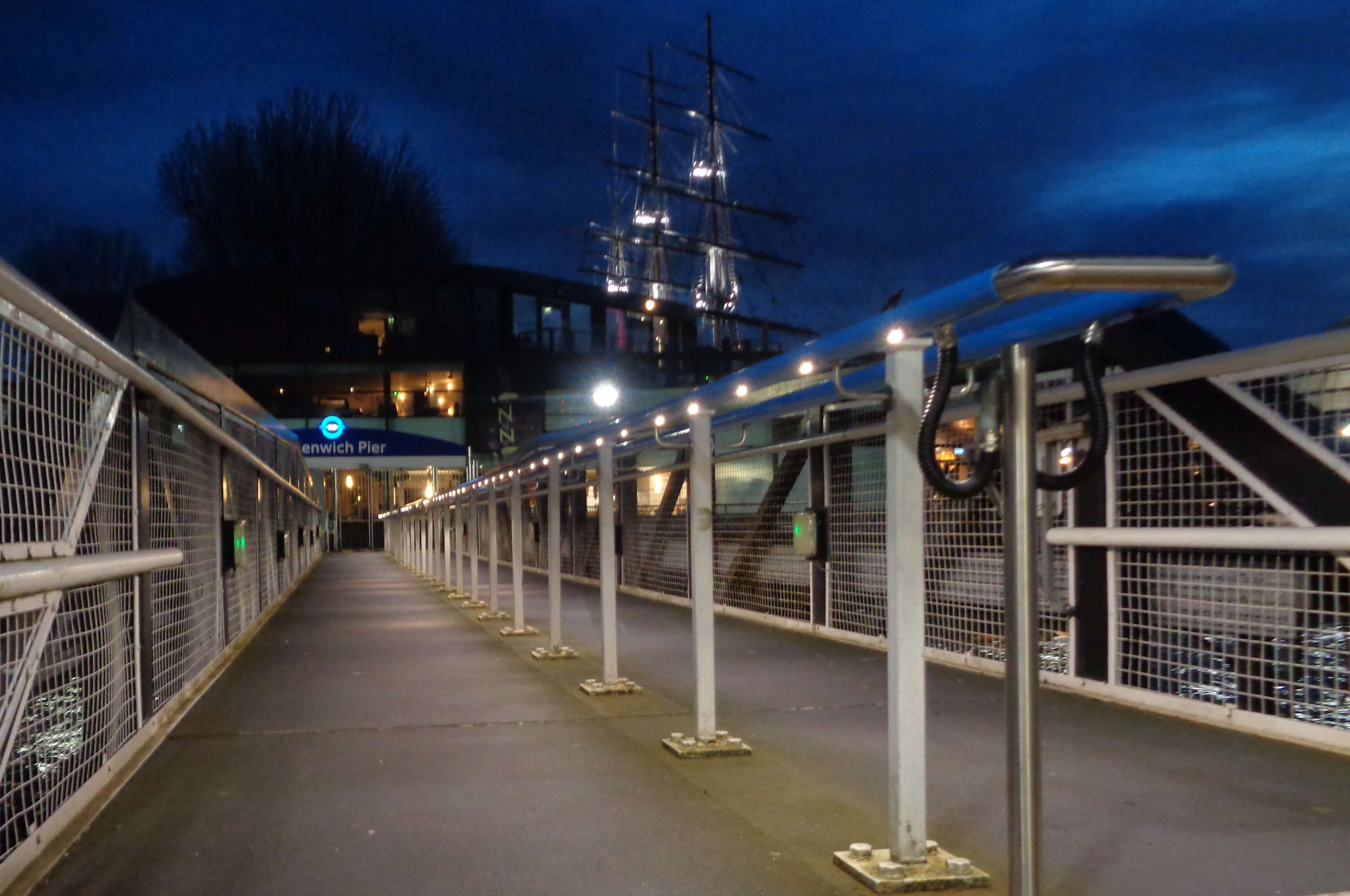 Illuminated handrail in Greenwich