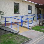 Hospital Entrance with Blue ramp handrail