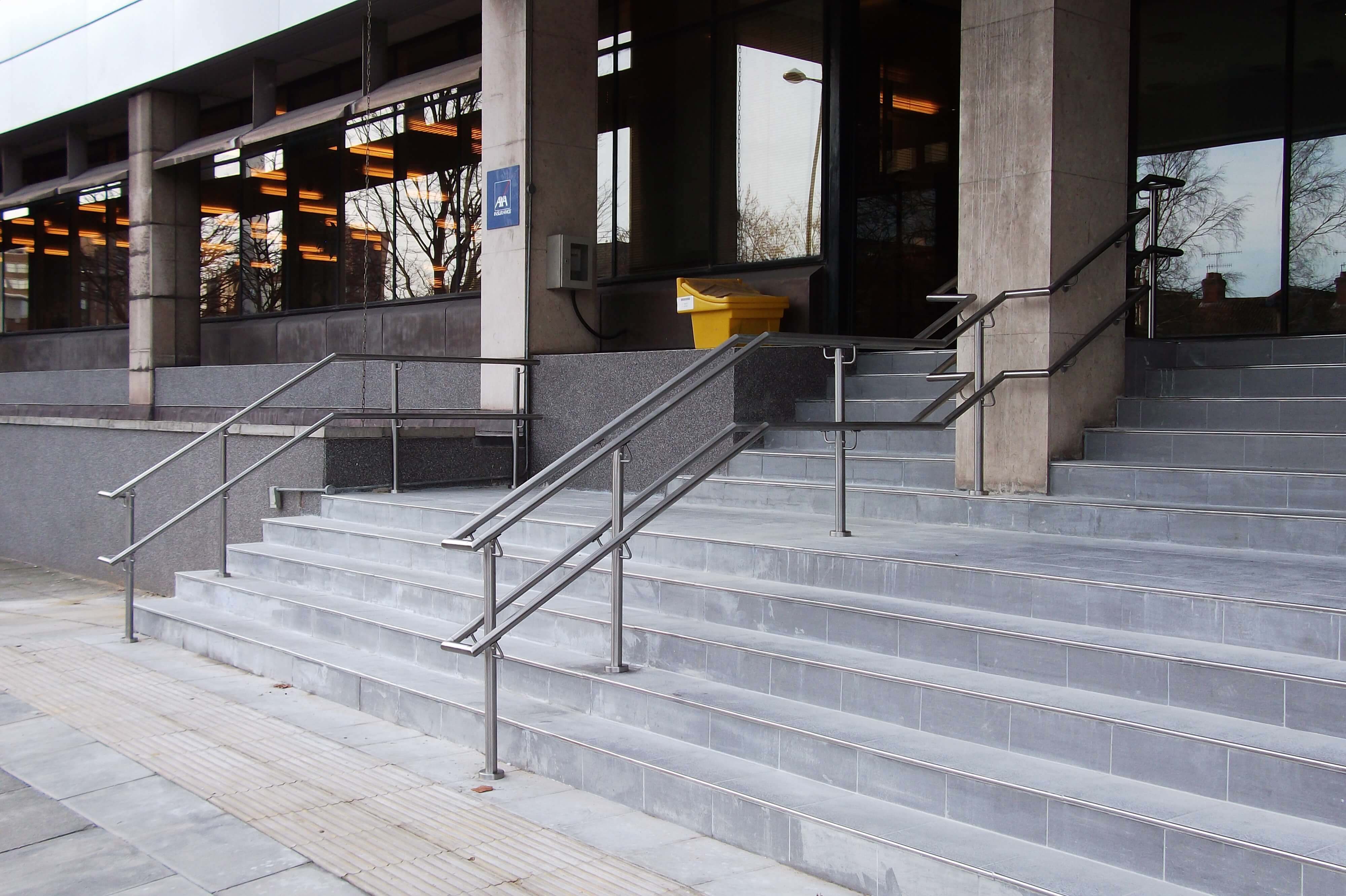 stainless steel handrail on steps