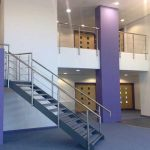 Stainless steel handrail on staircase