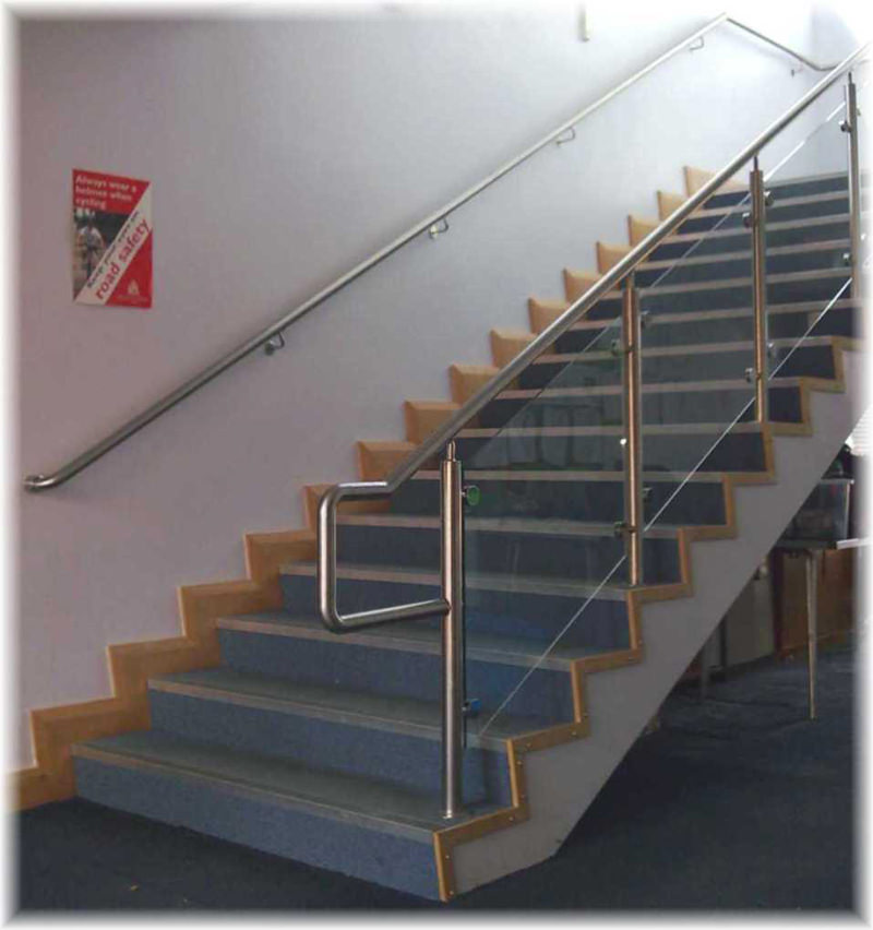 Stainless steel handrail up school staircase
