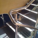 Close up of stainless steel school handrail