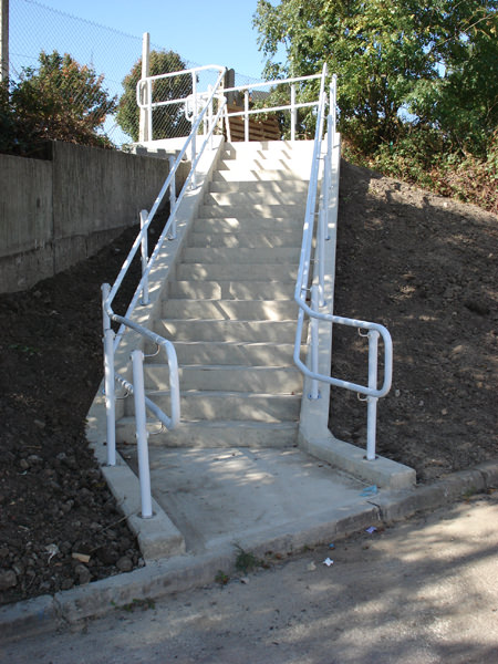 White DDA Handrails on external staircase